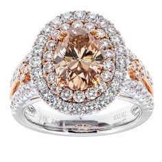 18K Rose & White Gold 2.02ct Oval Cut Engagement or Right Hand Ring
