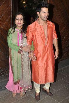 Varun Dhawan with mother Laali Dhawan at Amitabh Bachchan's #Diwali bash. #Bollywood #Fashion #Style #Handsome #Desi