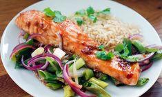 Ovnsbakt laks med hoisinsaus | EXTRA Hoisin Sauce, Fish And Seafood, Fish Recipes, Risotto, Salmon, Snacks, Chicken, Dinner, Ethnic Recipes
