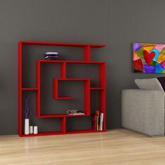Picture showing Labirent Book Shelf, Red