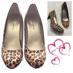 "Bandolino Leopard Print Fur Heels 8.5M Oh my talk about stylish and fun these beauties are ready to complete your outfit!!  So stylish and sexy!!  3"" heel.  Like new no scuffs or anything might of worn one time! Bandolino Shoes Heels"