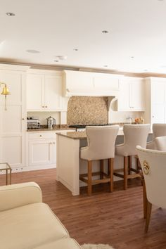 An angled shot of all the seating arrangements in this open-plan space. Island seating, dining seating and sofa seating. Kitchen Inspirations, Shaker Style Kitchens, Island With Seating, Home Renovation, County House, Modern Shaker Kitchen, Kitchen Styling, Large Open Plan Kitchens, Shaker Style