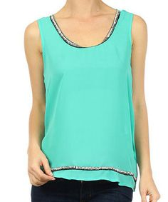 This Emerald Embellished Tank is perfect! #zulilyfinds