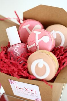 The Everygirl's Valentine's Day Soiree // party favors // Essie nail polish // macaroons // pink and red // Hey Gorgeous Events // photography by Kelly Braman Photography