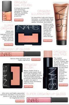 NARS orgasm - i have all of these products and they look amazing on any skin-tone. The illuminator is perfect for a summer glow all year round