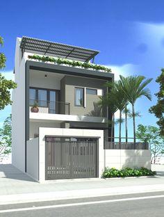 MẪU NHÀ DÂN Modern Zen House, Small Modern Home, Modern House Design, Narrow Lot House Plans, Narrow House, Lofts, Duplex House Plans, House Front Design, Minimalist House Design