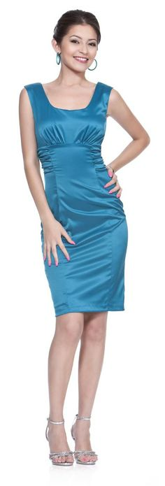 Short Teal Cocktail Party Dress Satin Tight Fitting Knee Length Gown  $77.99