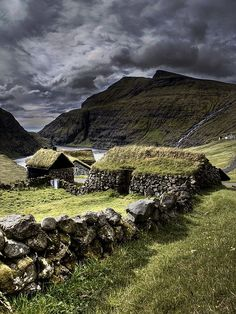 Ancient stone house in the Faroe Islands. The Faroe islands are tucked between Iceland and Norway, about 200 miles NW of Scotland. Oh The Places You'll Go, Places To Travel, Places To Visit, Travel Destinations, Faroe Islands, Scotland Travel, Skye Scotland, Ireland Travel, British Isles