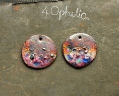 floral pink and purple copper enamel with glass lampwork jewelry supplies charms 2pc 4ophelia
