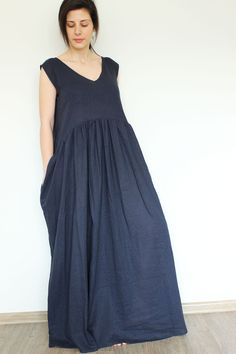 Linen Dress Blue Linen Dress Summer linen dress by linenOnlyDesign