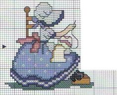 Cross stitch, girl sewing