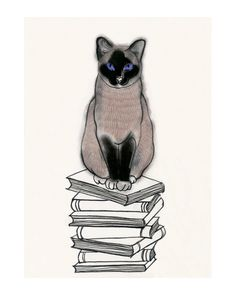 Hey, I found this really awesome Etsy listing at https://www.etsy.com/listing/192500572/siamese-cat-art-i-heart-books-4-x-6