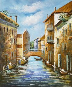 """Bliss Old Oil Paintings Mediterranean Landscape Oil Painting Italy Venice Venice Canal, Size: 20"""" x 24"""", $88. Url: http://www.oilpaintingshops.com/bliss-old-oil-paintings-mediterranean-landscape-oil-painting-italy-venice-venice-canal-1980.html"""