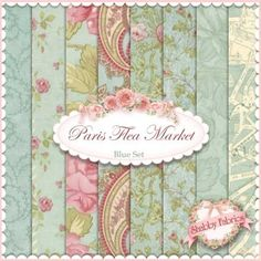 3 Sisters for Moda: Paris Flea Market Collection in Blue | Shabby Chic quilting fabric
