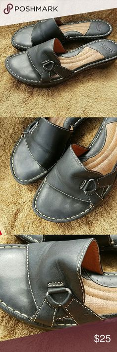 Born size 10 Born slip on leather slide saddles. Black.  In excellent condition. Born Shoes Sandals