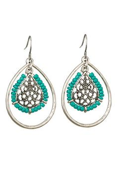 drop earrings with beadwork  (original price, $10.5) available at #Maurices