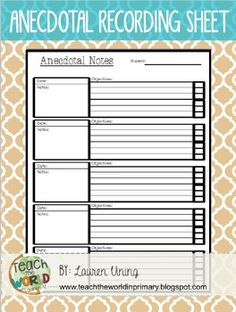 sample classroom observation checklist elegant anecdotal notes templateuse this template to record observations and of sample classroom observation checklist Guided Reading Template, Guided Reading Lesson Plans, Anecdotal Records, Anecdotal Notes, Teaching Strategies Gold, Teaching Tips, Preschool Assessment Forms, Preschool Portfolio, Classroom Observation