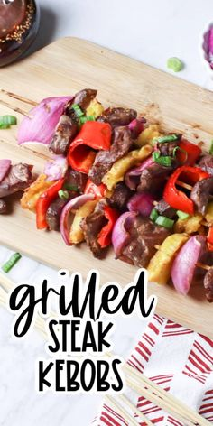 These easy Grilled Beef Skewers are perfect for a lunch or dinner idea when the weather is good! Marinaded in a tangy sesame sauce and delicious! Grilling Recipes, Pork Recipes, Lunch Recipes, Easy Dinner Recipes, Easy Meals, Grilling Ideas For Dinner, Simple Recipes, Seafood Recipes, Dinner Ideas