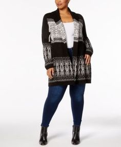 Style & Co Plus Size Printed Open-Front Cardigan, Created for Macy's - Black 0X