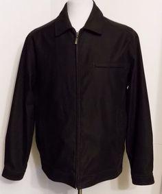 Roundtree & Yorke Black Zip Front Softshell Jacket Collared Fleece Lined Size M #RoundtreeYorke #SoftShell