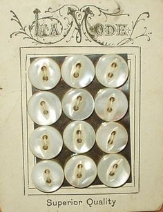 La Mode Antique Early 1900 Original Card Pearl Buttons