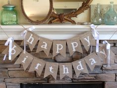 happy birthday burlap banner  birthday by BurlapandTwineCo on Etsy, $30.00