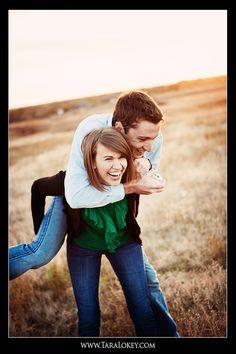 Engagement portraits -- Cute idea to reverse the rolls for a fun and humorous shot.
