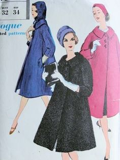 Late 50s Beautiful Flared Coat and Hood Hat Pattern Elegant Design Vogue 9610 Vintage Sewing Pattern Bust 32 FACTORY FOLDED