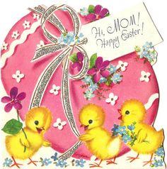 Vintage card, pretty Easter egg & chicks.  #vintage #easter #card #retro #illustration #egg #chicks #kitsch