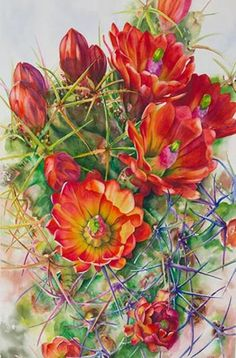 Watercolor demonstration of orange cactus flowers by Lisa Hill Step 6