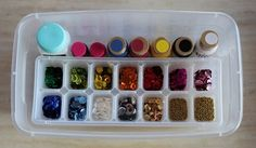 Store sequins, beads and other small things in an ice tray. | 26 Clever And Inexpensive Crafting Hacks