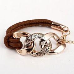 2017 Hot Sale New Style Fashion Gold Chain Female Three Circle Leather Bracelets,Cheap Exquisite Bracelets For Women,Free Ship Diy Jewelry, Jewelery, Jewelry Accessories, Handmade Jewelry, Fashion Jewelry, Jewelry Design, Jewelry Making, Style Fashion, Fabric Bracelets