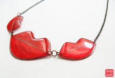 Red Lips Necklace, Bright Red Lipstick Necklace, Kiss Pendant, Lip Jewelry, Hugs and Kisses, Resin Statement Necklace, Gift of Love, Fancy