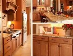 A warm, traditional kitchen featuring Carlton maple kitchen cabinets from CliqStudios.
