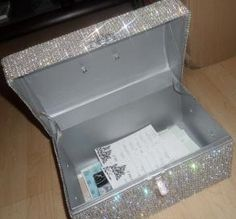 Rhinestone Treasure Card Box - could be used for name box at baby shower