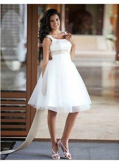 Stunning A-line Scoop Sleeveless Satin Tulle Knee-length Beach Wedding Dress -someday