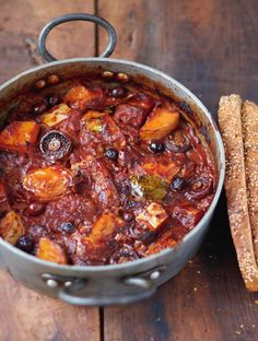 Chicken and squash cacciatore with mushrooms, tomatoes, olives, and bread   Everyday Super Food by Jamie Oliver