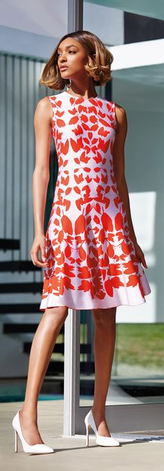 Make a striking statement is this #StJohnKnits summertime flared dress from their #PreFall collection. | sjk.com