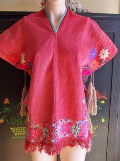 Rose Poncho Boho Embroidered Tassel Ties size S. $38.00, via Etsy.