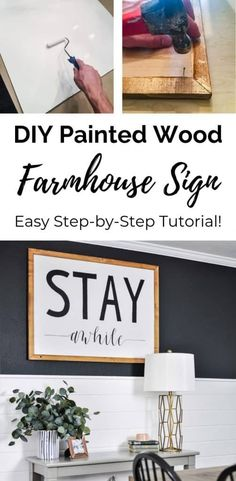 Easy DIY Farmhouse Sign Tutorial – How to Make a Wood Sign with Paint / Learn the simple way to make a black and white farmhouse painted wood sign without a stencil! Create stunning, rustic wall art for your house with this easy tutorial. Diy Wood Wall, Rustic Wall Art, Diy Wood Signs, Painted Wood Signs, Rustic Wood Signs, Rustic Walls, Wood Art, Wood Wood, Wall Signs