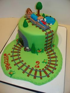 Train Birthday Cake By bandcbakes on CakeCentral.com Baby First Birthday Cake, Second Birthday Ideas, 2nd Birthday, Happy Birthday, Cake Original, Thomas Cakes, Trains Birthday Party, Train Party, Birthday Cake Pictures