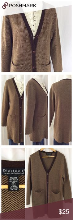 """Long Herringbone Cardigan Sweater Beautiful tight knit sweater in brown herringbone pattern. Two front patch pockets, long sleeves. V-neck, front button closure. Size M by Dialogue. 20"""" chest, 35"""" length. Great condition Sweaters Cardigans"""