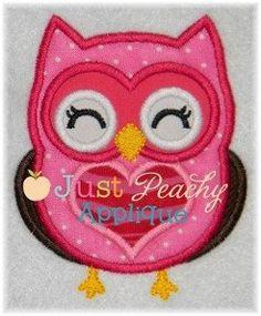 Valentine Owl 1 Applique Machine Embroidery by JustPeachyApplique, $4.00