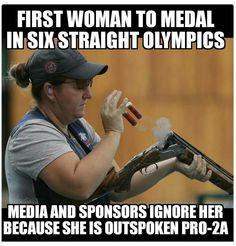Kim Rhodes http://www.teamusa.org/News/2016/August/12/Kim-Rhode-Becomes-First-Woman-To-Medal-At-Six-Straight-Olympic-Games