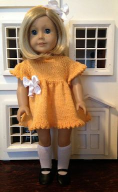 "Knitionary: Sunshine Lollipops free knitting dress pattern for 18"" doll"