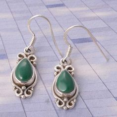 EXCLUSIVE 925 STERLING SILVER MALACHITE EARRING 4.0g DJER2231 #Handmade #EARRING