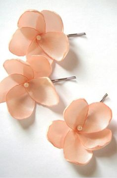 salmon peach rose blossom wedding flower bobby pins