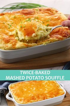 Twice Baked Mashed Potatoes, Mashed Potato Casserole, Dinner Dishes, Food Dishes, Southern Sunday Dinner Ideas, Sour Cream Potatoes, Potato Souffle, Healthy Potatoes, Holiday Side Dishes