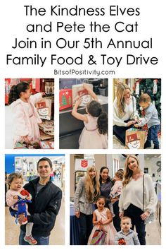 A family food and toy drive with ideas for including the Kindness Elves, Pete the Cat, and toddlers - Bits of Positivity Toddler Bag, Toddler Gifts, The Big Year, Kindness Elves, Kindness Projects, Positivity Blog, Second Child, Plush Dolls, Raising Kids