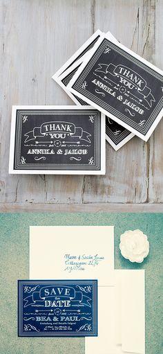 #Dankeskarten online bestellbar bei www.papierhimmel.com #Hochzeitseinladungen #vintage #chalkboard #tafel #weddinginvitation